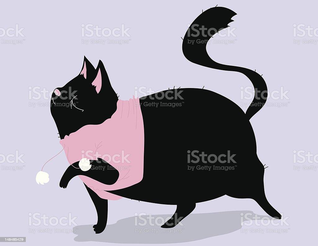 おしゃれなブラックの猫 - いたずら書きのベクターアート素材や画像を