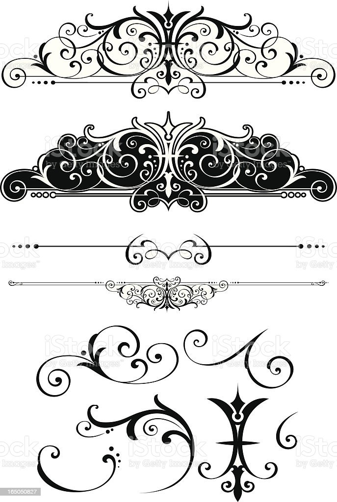 Fancy centre scrolls and rulelines vector art illustration