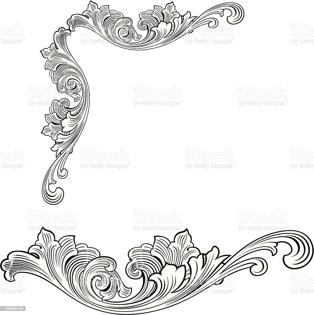Fancy Corner And Woodcut Scroll Stock Vector Art & More ...  Fancy