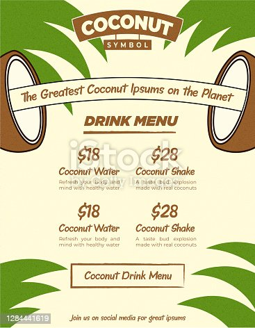 istock Fancy Creative Coconut Drink Bar Web Banner or Menu Flyer Template with Beige and Green Palm Leaf Background for Combo Poster 1284441619