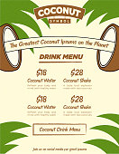 Fancy Creative Coconut Drink Bar Web Banner or Menu Flyer Template with Beige and Green Palm Leaf Background for Combo Poster