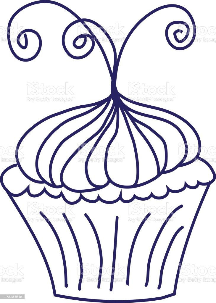 Fancy Cupcake With Curly Swirls Blue Outline Isolated On White Royalty Free