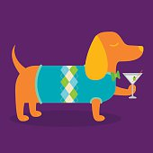 A vector illustration of a fancy dachshund wiener dog wearing an argyle sweater and holding a martini.