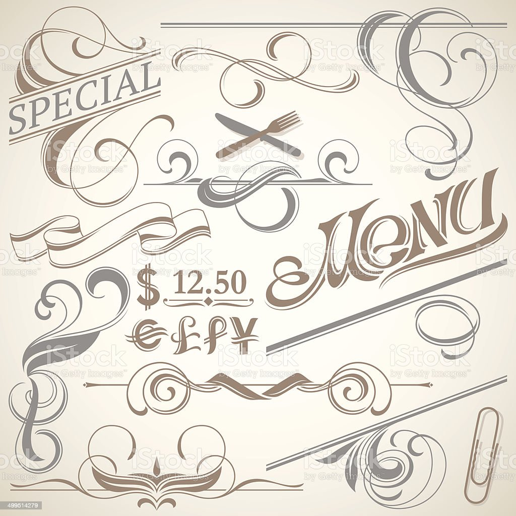 fancy decor for menu stock vector art & more images of advertisement
