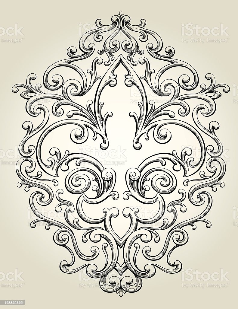 Fancy Fleur De Lis Frame vector art illustration