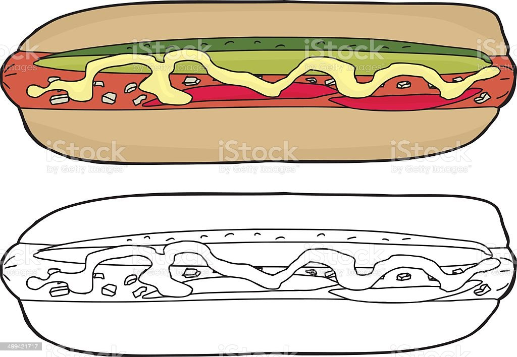 Fancy Hot Dog royalty-free stock vector art
