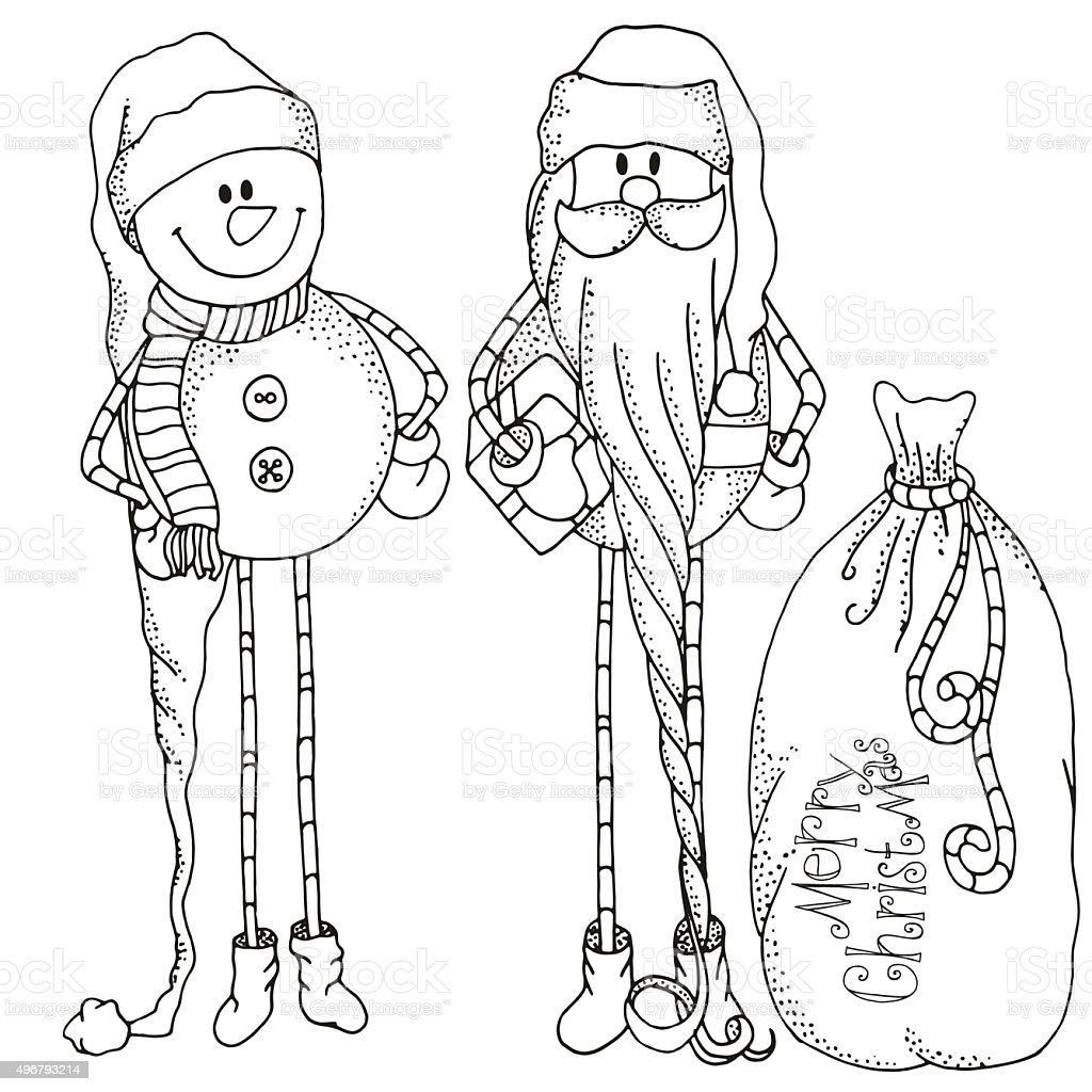おしゃれなサンタスノーマンギフトクリスマス - 2015年のベクターアート