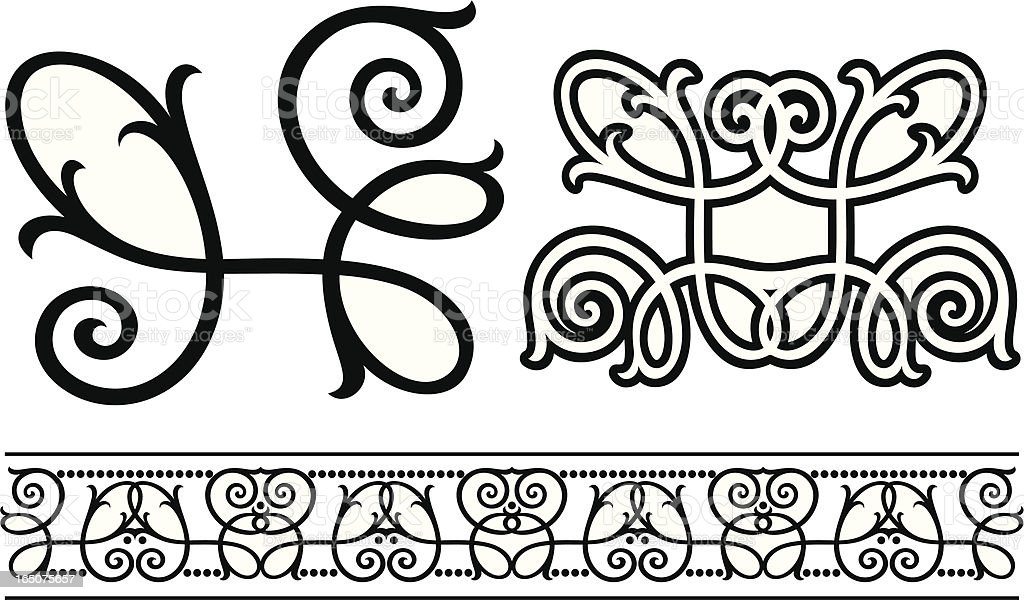 Fancy Scroll and Frieze vector art illustration