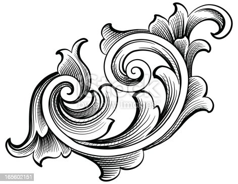 Fancy Scroll Stock Vector Art & More Images of Angle ... Барокко Орнамент