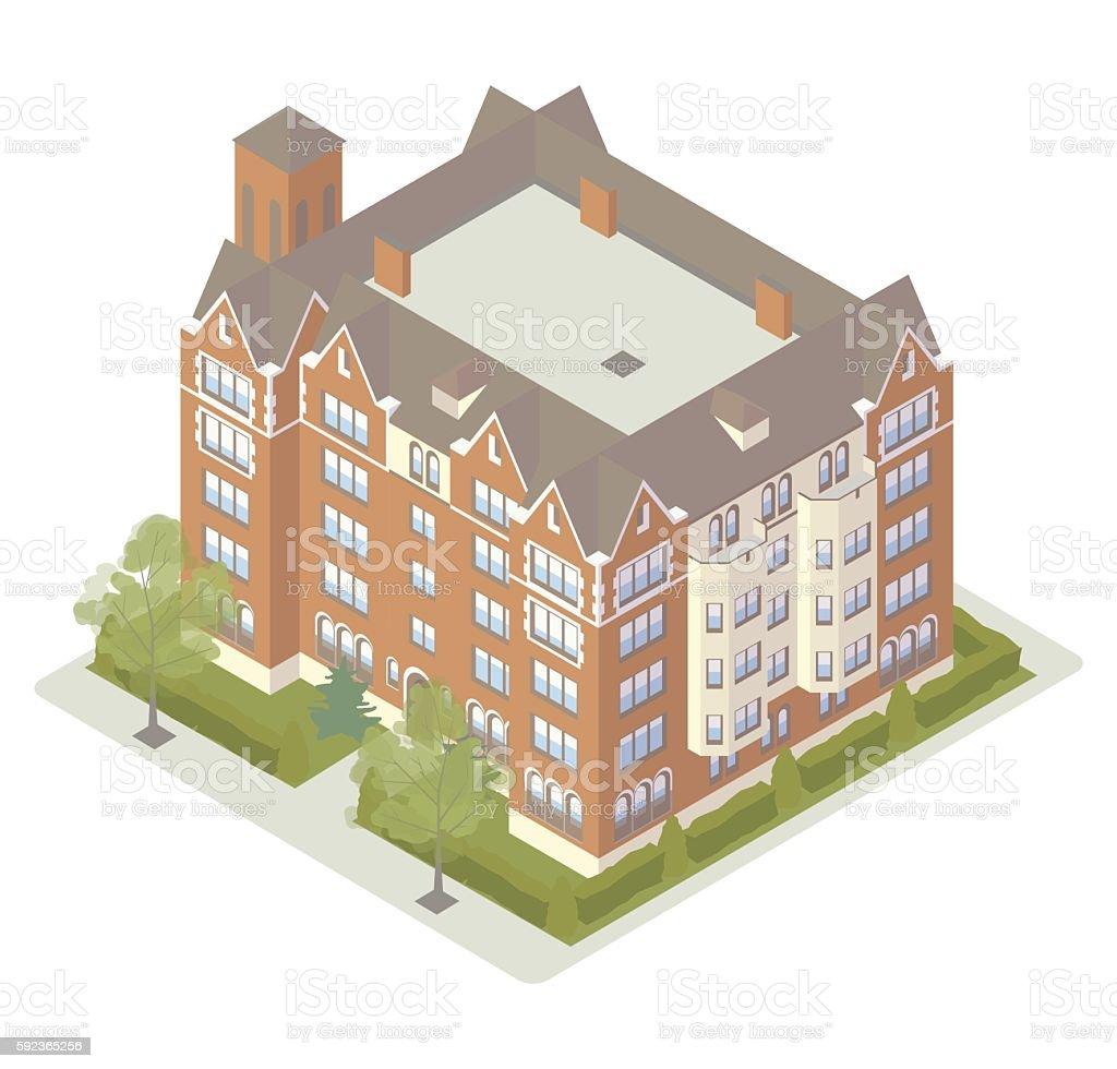 Fancy tudor apartment building illustration vector art illustration