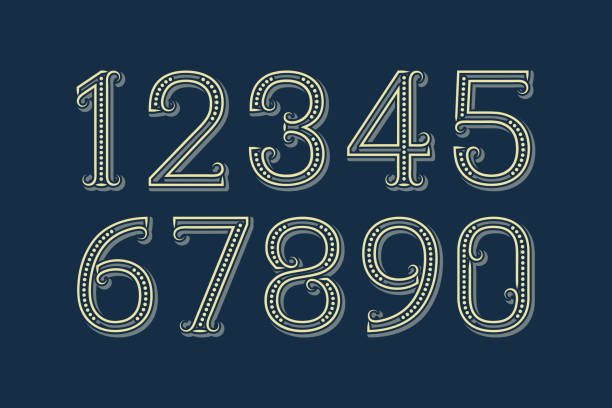 fancy vector numbers in patterned retro style. - dane finansowe stock illustrations