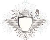 Illustration of a Winged Shield with Floral Background. Black/Silver Version. Grouped for easy navigation/edition. Hires JPEG included.