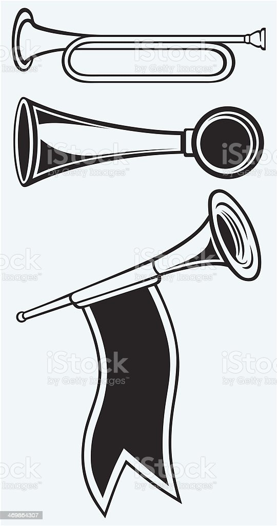 Fanfare and wind musical instrument royalty-free stock vector art
