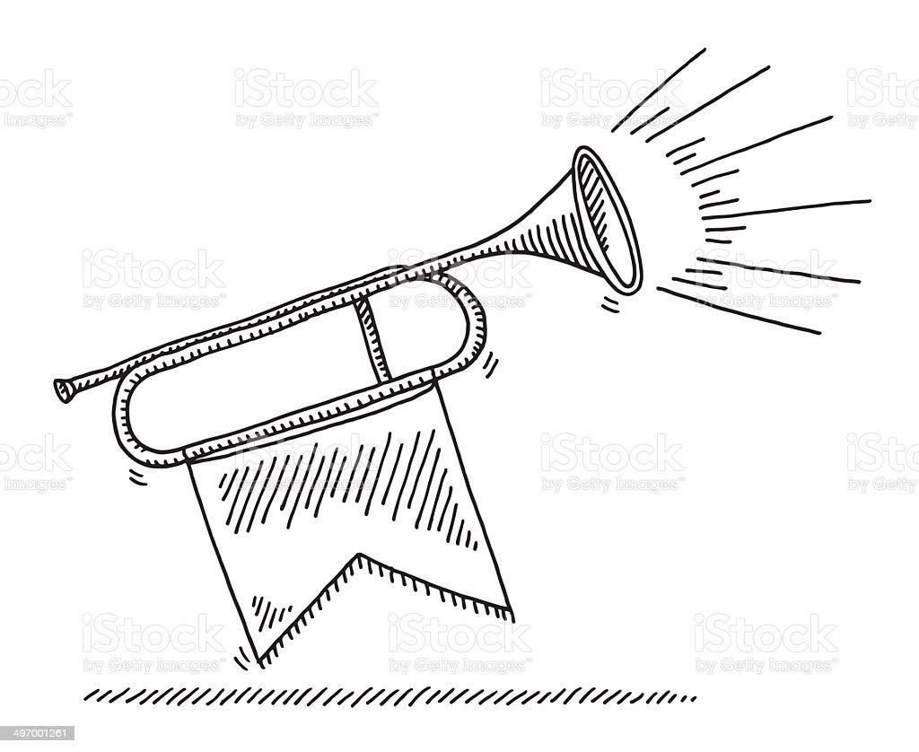 Fanfare Celebration Instrument Drawing vector art illustration