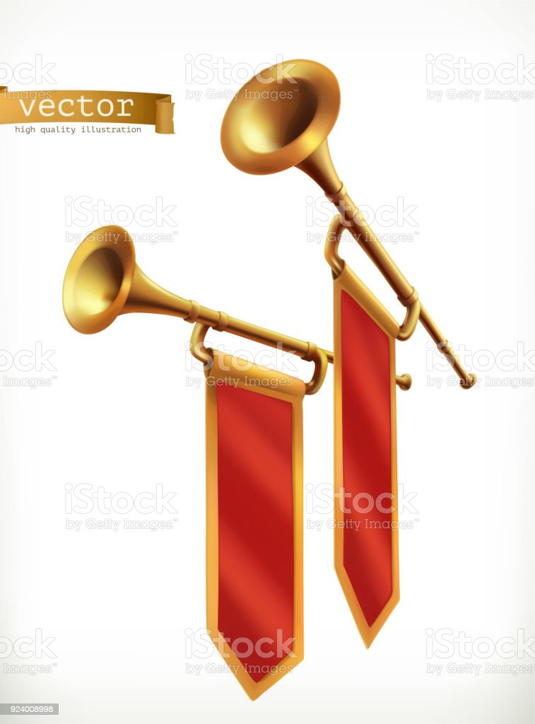 Fanfare. Gold trumpet. 3d vector icon vector art illustration