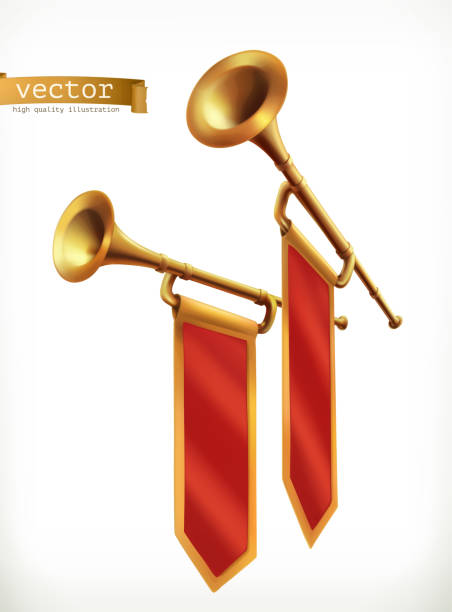 Fanfare. Gold trumpet. 3d vector icon vector art illustration