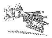 Fanfare Trumpet Sale Marketing Drawing