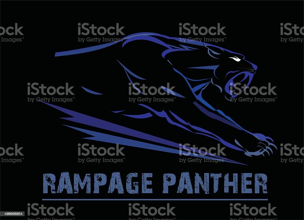 fang face muscular panther, roaring and crawling in the dark. vector art illustration