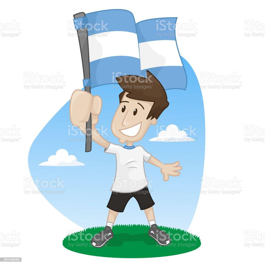 fanáticos del fútbol con la bandera argentina - ilustración de arte vectorial