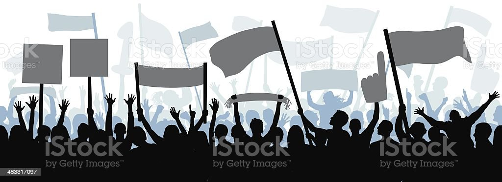 Fans (Eighty Complete People- Clipping Path Hides the Legs), Seamless vector art illustration