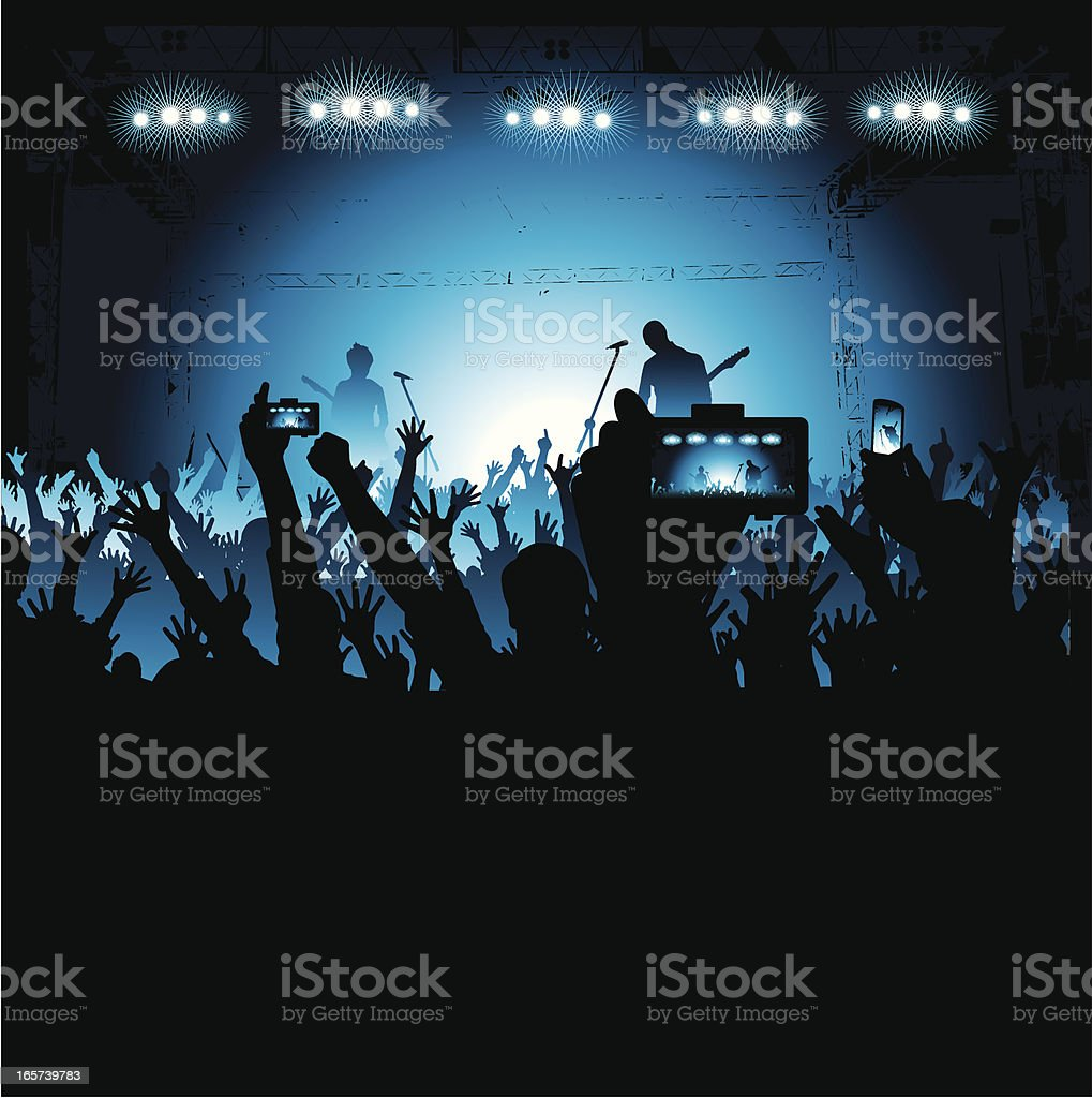 Fans Taking Photos of a Band on Stage royalty-free stock vector art