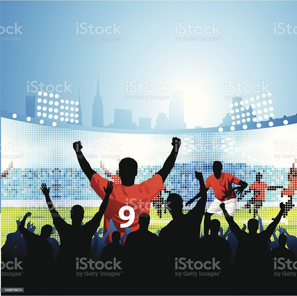Fans watching soccer match on large outdoor screen royalty-free stock vector art