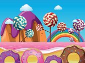 Fantacy land with lollipops and donuts
