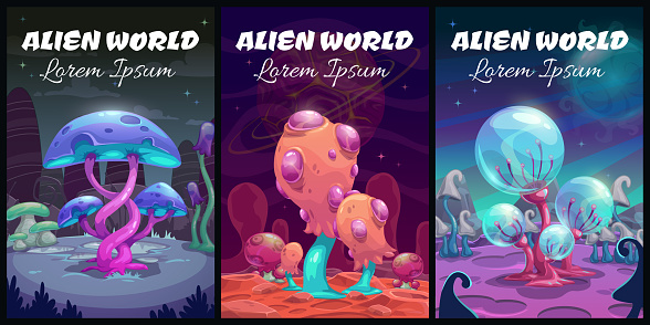 Fantastic background. Fantasy cartoon alien world landscape