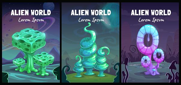 Fantastic backgrounds collection. Fantasy cartoon alien world landscape with shiny plants