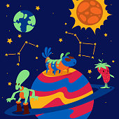 Fantastic character vector cartoon animal creature funny monster on planet earth sun illustration backdrop expressive animated mysterious alien fiction background.
