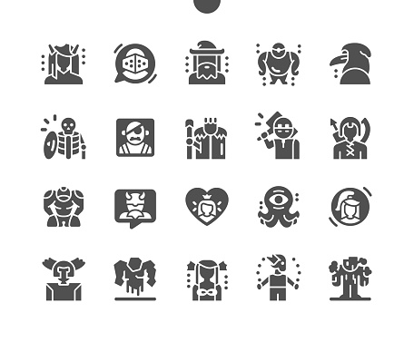 Fantastic characters. Fantasy, personage, person, cute, monster, mythology, magic and fairytale. Princess, wizard, cyclops, gnome, kraken and other. Vector Solid Icons. Simple Pictogram