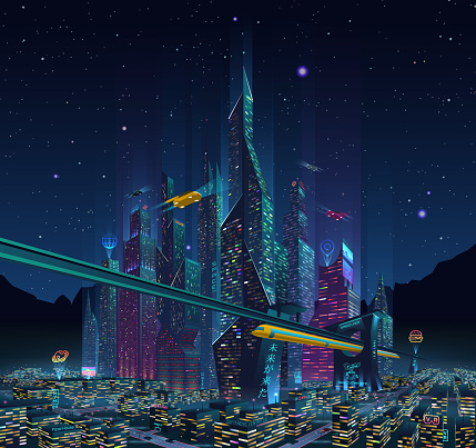 Fantastic City of the Future City at Night with Neon Light and Billboards