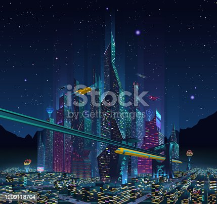 A view of the fantastic night city of the future with neon lights, billboards, advertising light signs, flying cars and starry sky on background.