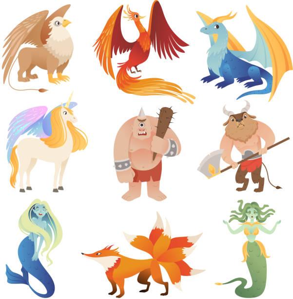 환상적인 생물. 피닉스 드래곤, 하이브리드, 동물, 비행, 사자, 미노 타 우르, 센타 라 벡터, 만화 사진 - 그리핀 stock illustrations