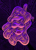 Fantastic cyborg girl face in wires, bright pink violet gradient color, isolated dark purple outline pattern on black background. Vector creative hand drawn illustration with face android girl.