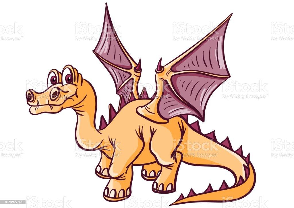 Ilustración De Fantástico Dinosaurio Con Alas Cuello Largo Cola