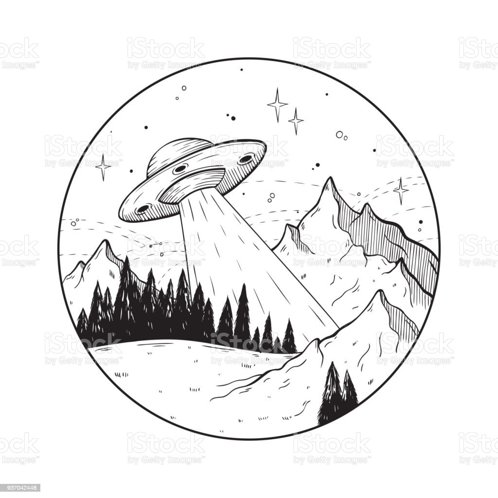 Fantastic doodle illustration with UFO spaceship in the mountains.