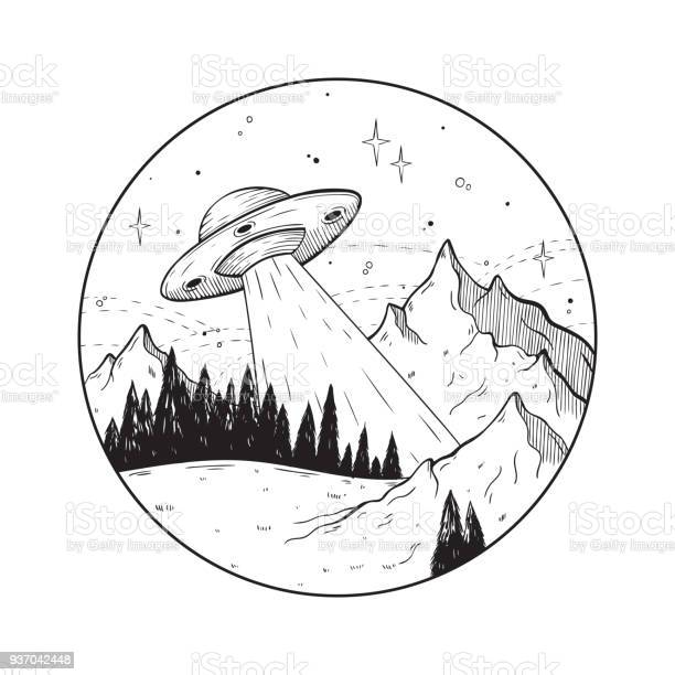 Fantastic doodle illustration with ufo spaceship in the mountains vector id937042448?b=1&k=6&m=937042448&s=612x612&h= r0eg1zkqtk9gyxhe gurw6lvpzwebabpcauuoedke4=