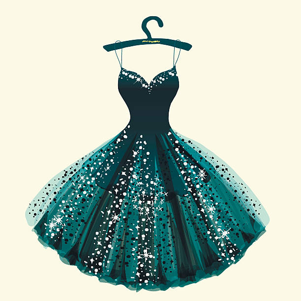 fantastic dress hand drawn vector illustration - chiffon stock-grafiken, -clipart, -cartoons und -symbole