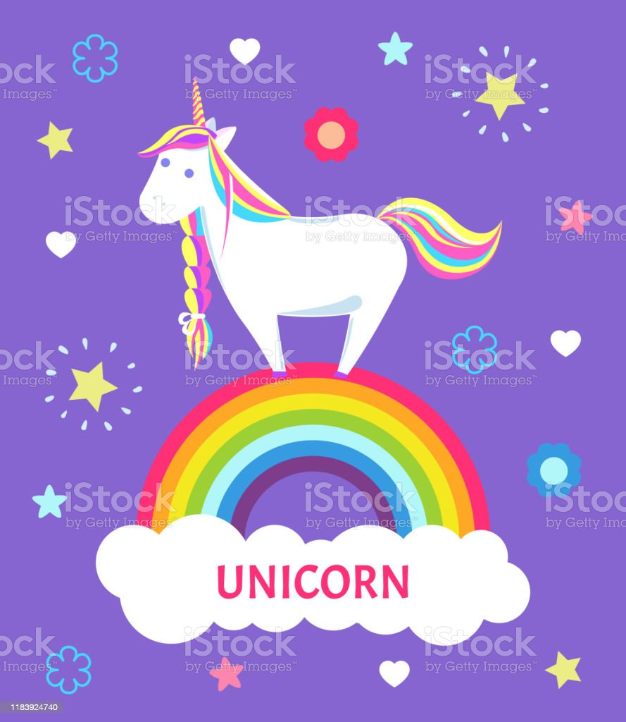 - Fantastic Fairy Tale Unicorn Color Mane Sharp Horn Stock