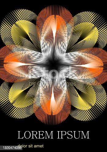 Flor fantástica formada por raios amarelos e laranjas, a flor contrasta com um fundo preto. Na parte inferior do espaço da área para texto personalizado, prove o texto Lorem ipsum.