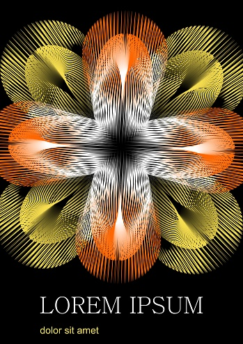 Fantastic flower formed by yellow and orange rays, the flower contrasts on a black background. At the bottom of the area space for custom text, sample text Lorem ipsum.