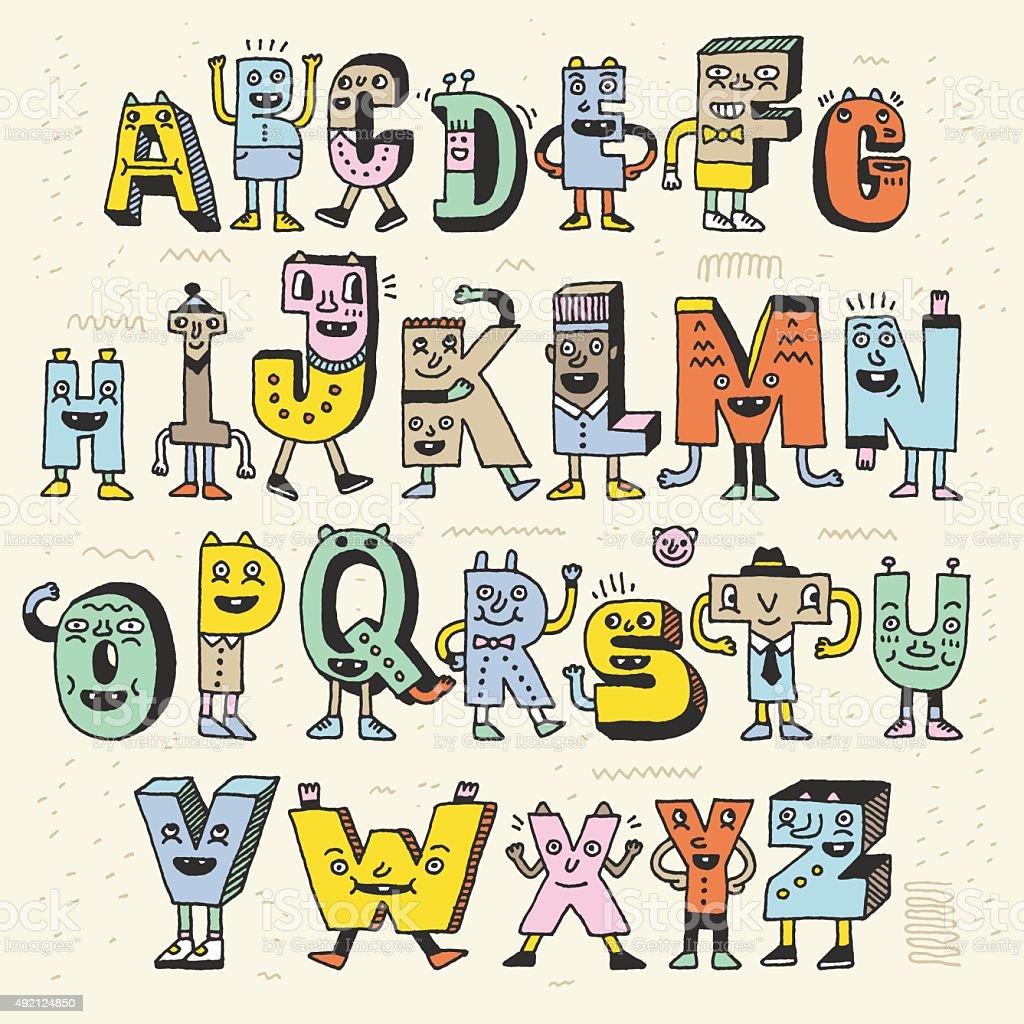 fantastische lustige alphabet lustige doodle set. Black Bedroom Furniture Sets. Home Design Ideas