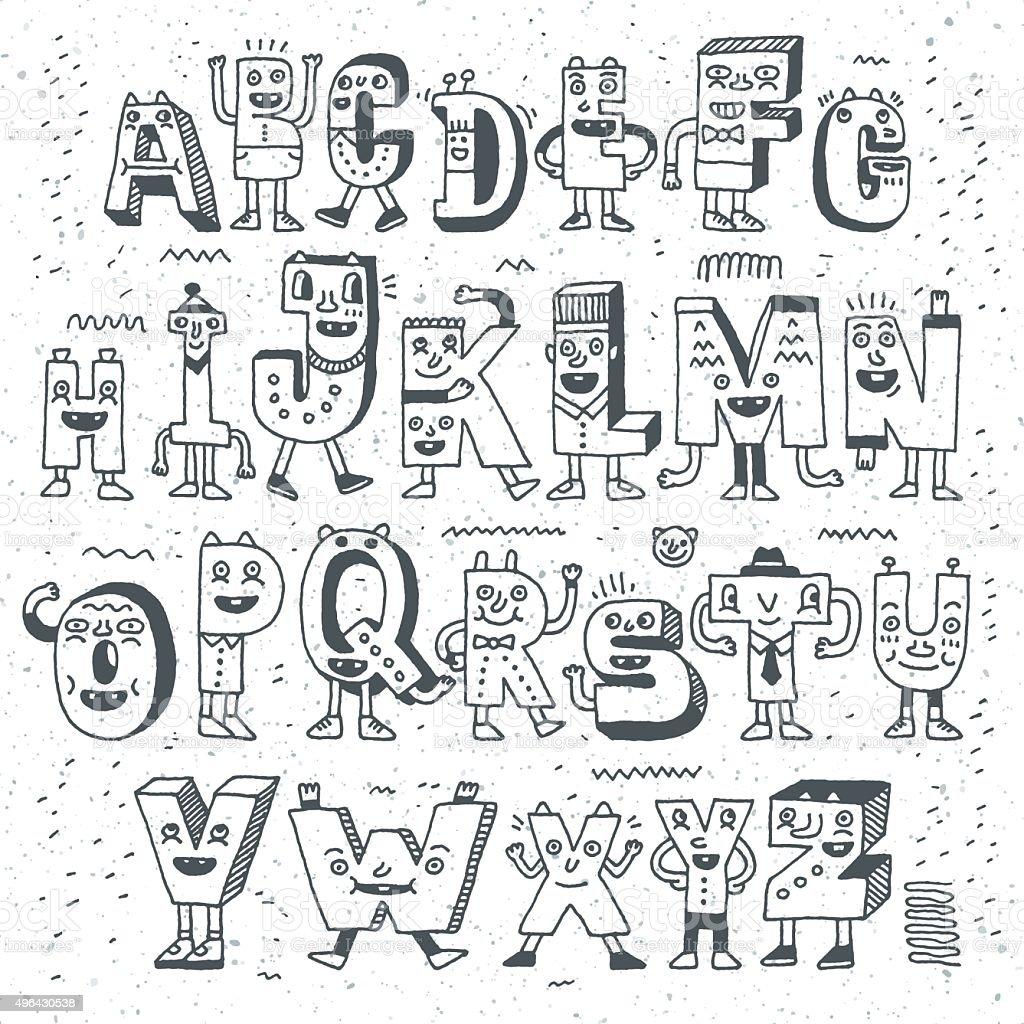 fantastische lustige alphabet lustige doodle set buchstabendesign stock vektor art und mehr. Black Bedroom Furniture Sets. Home Design Ideas