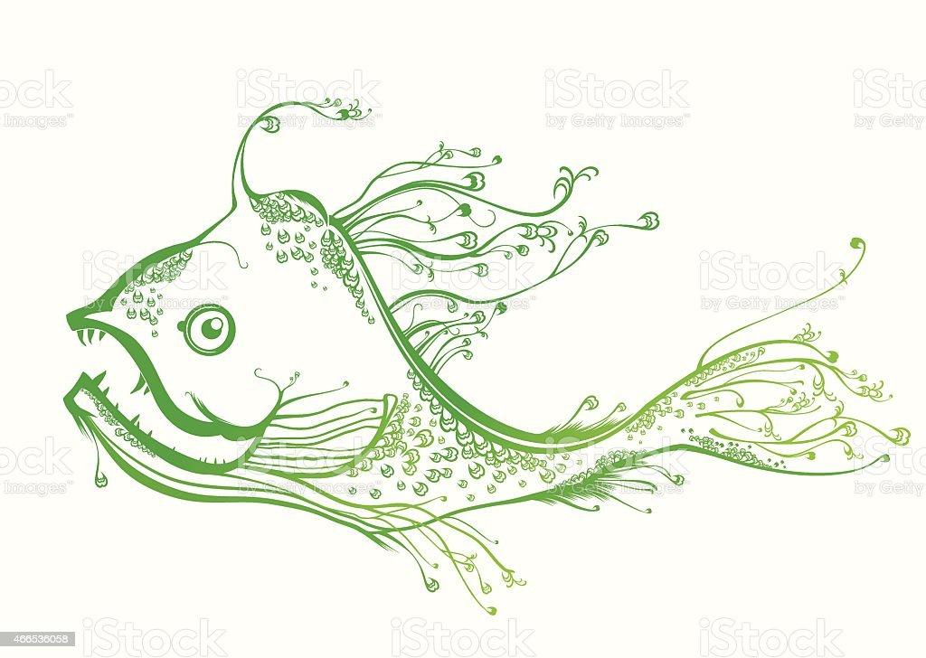 Fantastic green fish. vector art illustration
