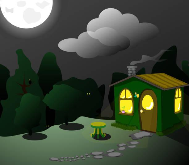fantastische green lodge bei nacht - dachpfannen stock-grafiken, -clipart, -cartoons und -symbole