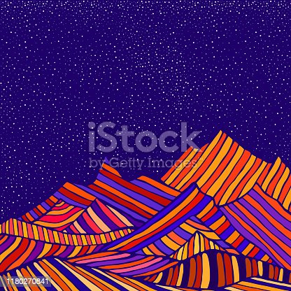 Fantastic hippie style psychedelic landscape with mountains in the form of colorful stripes and of blue sky and stars.  Vector hand drawn cartoon illustration.