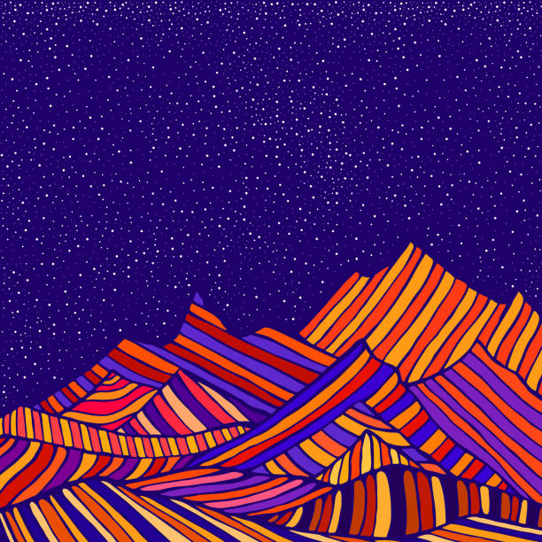 ilustrações de stock, clip art, desenhos animados e ícones de fantastic hippie style psychedelic landscape with mountains in the form of colorful stripes and of blue sky and stars.  vector hand drawn cartoon illustration. - trippy background