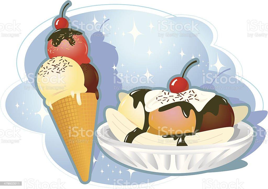 Fantastic Ice Cream Combo vector art illustration