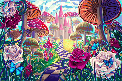fantastic landscape with mushrooms, beautiful old castle, red and white roses and butterflies. illustration